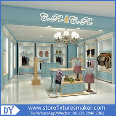 Porcellana Custom nice fashion  design wooden lacquer Childrens Clothing Stores display showcase furniture  with good price fabbrica