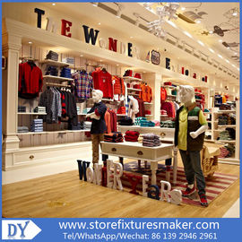 Porcellana OEM Service wooden lacquer Youth Clothing Stores display furnitures with led lighting decorated fabbrica