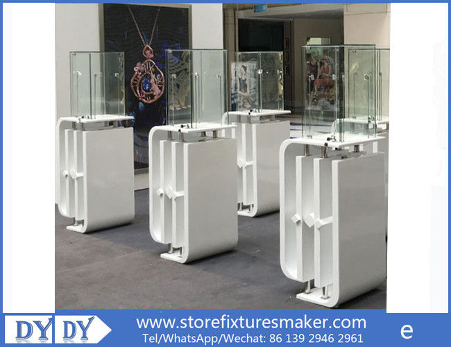Oem manufacturing good price wooden glass white color perspex display stands with locks fornitore
