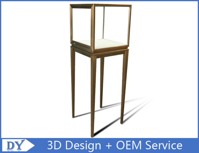 Manufacturer oem top grade fully assemble  brush stainless steel glass pedestal display stand with lights fornitore