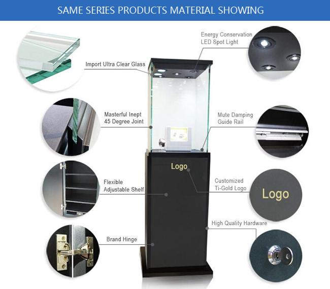 Oem manufacturing good price wooden glass white color perspex display stands with locks
