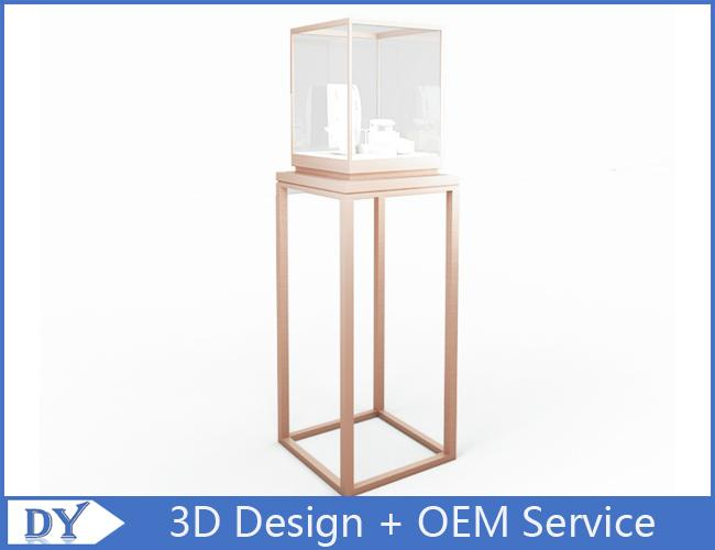OEM manufacturing high end stainless steel museum pedestal display case with led spot lights